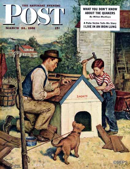 Amos Sewell Saturday Evening Post Building the Doghouse 1951_03_24   The Saturday Evening Post Graphic Art Covers 1931-1969