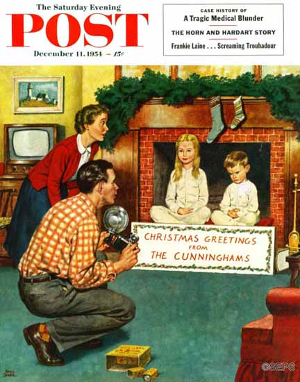 Amos Sewell Saturday Evening Post Christmas Photograph 1954_12_11 | The Saturday Evening Post Graphic Art Covers 1931-1969