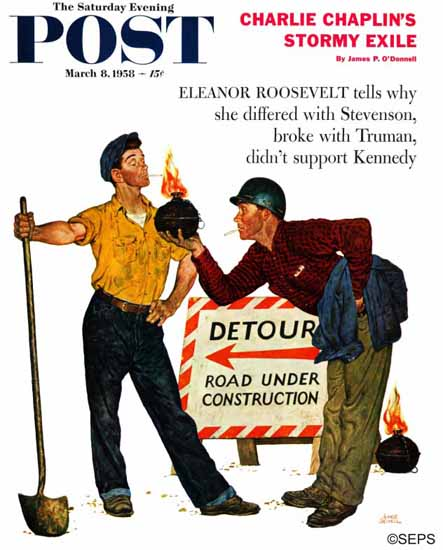Amos Sewell Saturday Evening Post Cigarette Lighter 1958_03_08 | The Saturday Evening Post Graphic Art Covers 1931-1969