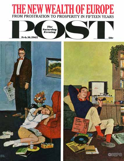 Amos Sewell Saturday Evening Post Cool Record 1962_02_10 | The Saturday Evening Post Graphic Art Covers 1931-1969