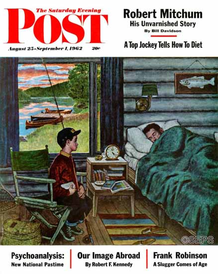 Amos Sewell Saturday Evening Post Dad the Fish are Biting 1962_08_25 | The Saturday Evening Post Graphic Art Covers 1931-1969