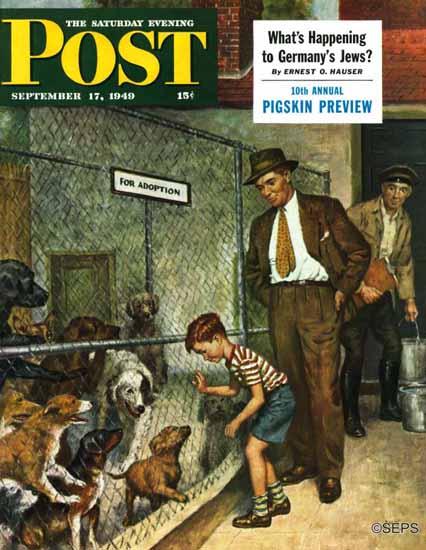 Amos Sewell Saturday Evening Post Dog Pound 1949_09_17 | The Saturday Evening Post Graphic Art Covers 1931-1969