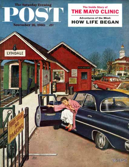Amos Sewell Saturday Evening Post Flat At Commuter Station 1960_11_26 | The Saturday Evening Post Graphic Art Covers 1931-1969