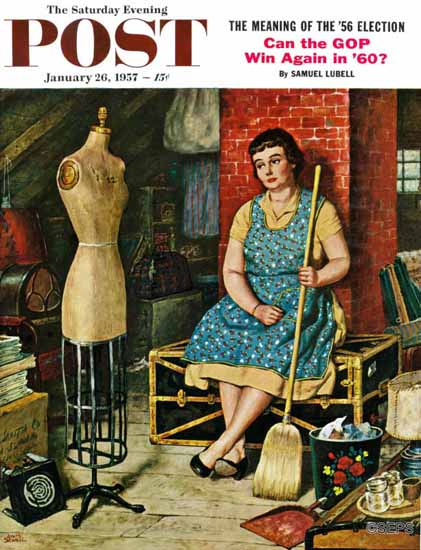 Amos Sewell Saturday Evening Post Former Figure 1957_01_26 | The Saturday Evening Post Graphic Art Covers 1931-1969