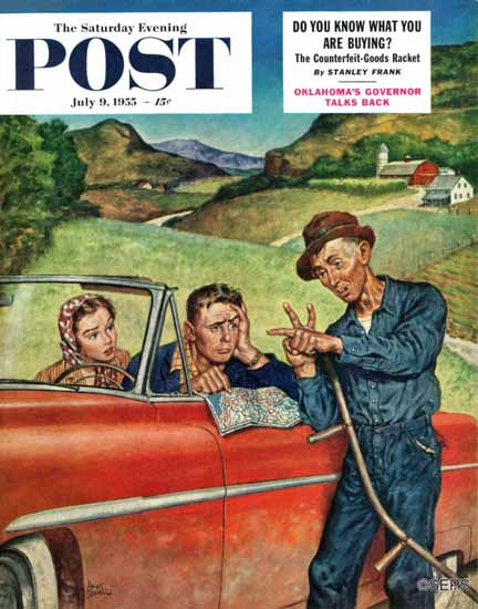 Amos Sewell Saturday Evening Post Go Two Miles Turn Left 1955_07_09 | The Saturday Evening Post Graphic Art Covers 1931-1969