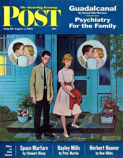 Amos Sewell Saturday Evening Post Goodnight Kiss 1962_07_28 | The Saturday Evening Post Graphic Art Covers 1931-1969