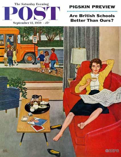Amos Sewell Saturday Evening Post Morning Coffee Break 1959_09_12   The Saturday Evening Post Graphic Art Covers 1931-1969