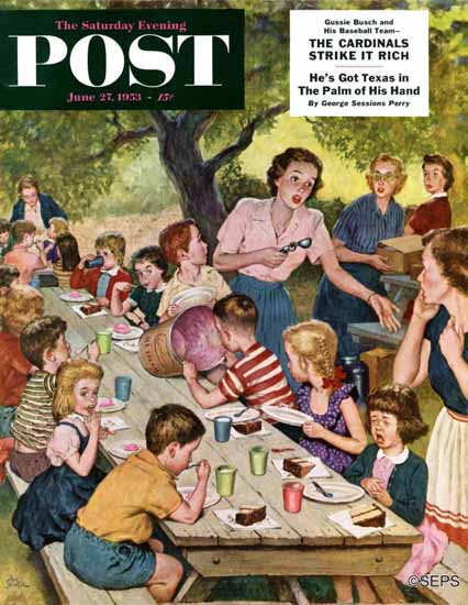 Amos Sewell Saturday Evening Post Out of Ice Cream 1953_06_27   The Saturday Evening Post Graphic Art Covers 1931-1969