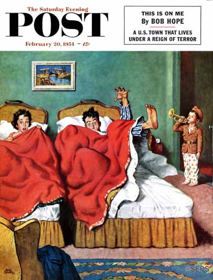 Amos Sewell Saturday Evening Post Parents Reveille 1954_02_20 | The Saturday Evening Post Graphic Art Covers 1931-1969