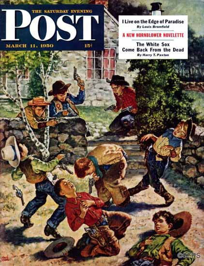 Amos Sewell Saturday Evening Post Playing Cowboy 1950_03_11 | The Saturday Evening Post Graphic Art Covers 1931-1969