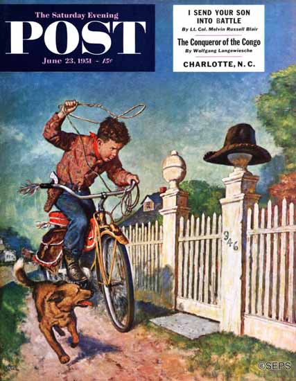 Amos Sewell Saturday Evening Post Playing Cowboy 1951_06_23 | The Saturday Evening Post Graphic Art Covers 1931-1969