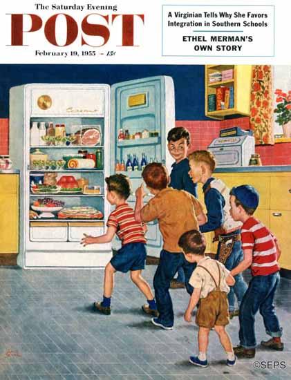 Amos Sewell Saturday Evening Post Refrigerator Raid 1955_02_19 | The Saturday Evening Post Graphic Art Covers 1931-1969