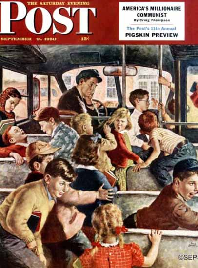 Amos Sewell Saturday Evening Post Rowdy Bus Ride 1950_09_09 | The Saturday Evening Post Graphic Art Covers 1931-1969
