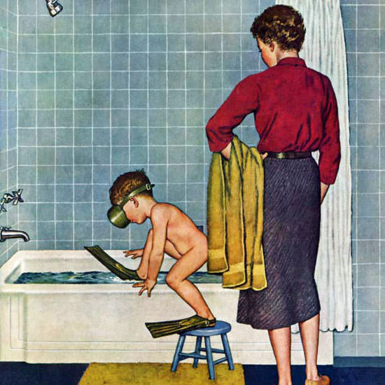 Amos Sewell Saturday Evening Post Scuba 1958_11_29 Copyright crop | Best of Vintage Cover Art 1900-1970