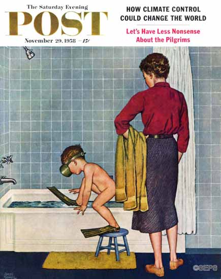 Amos Sewell Saturday Evening Post Scuba in the Tub 1958_11_29 | The Saturday Evening Post Graphic Art Covers 1931-1969