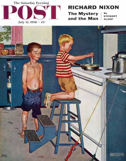 Amos Sewell Saturday Evening Post Small Fry 1958_07_12 | The Saturday Evening Post Graphic Art Covers 1931-1969