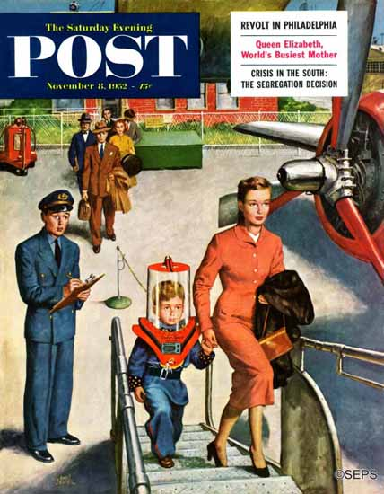 Amos Sewell Saturday Evening Post Space Traveller 1952_11_08 | The Saturday Evening Post Graphic Art Covers 1931-1969