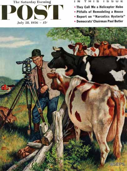 Amos Sewell Saturday Evening Post Surveying Cow Pasture 1956_07_28 | The Saturday Evening Post Graphic Art Covers 1931-1969