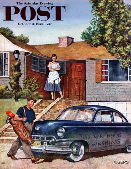 Amos Sewell Saturday Evening Post This Car Needs Washing 1953_10_03   The Saturday Evening Post Graphic Art Covers 1931-1969