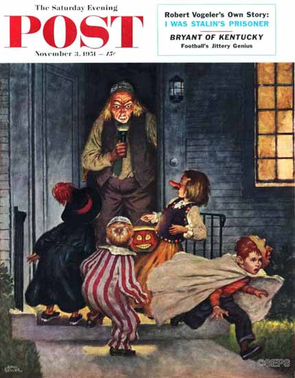Amos Sewell Saturday Evening Post Tricking Trick-Or-Treaters 1951_11_03 | The Saturday Evening Post Graphic Art Covers 1931-1969