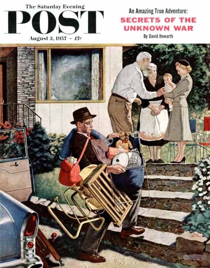 Amos Sewell Saturday Evening Post Visiting the Grandparents 1957_08_03 | The Saturday Evening Post Graphic Art Covers 1931-1969