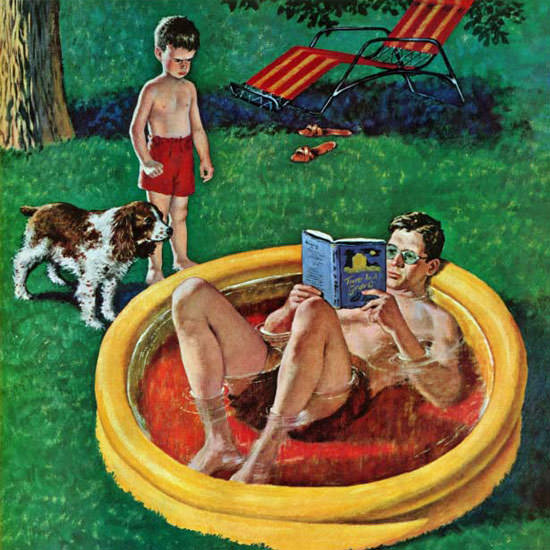 Amos Sewell Saturday Evening Post Wading 1955_08_27 Copyright crop | Best of Vintage Cover Art 1900-1970