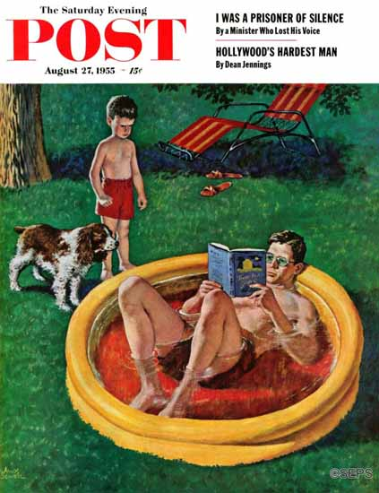 Amos Sewell Saturday Evening Post Wading Pool 1955_08_27 | The Saturday Evening Post Graphic Art Covers 1931-1969