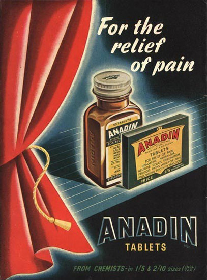 Anadin Tablets Pain Relief | Vintage Ad and Cover Art 1891-1970