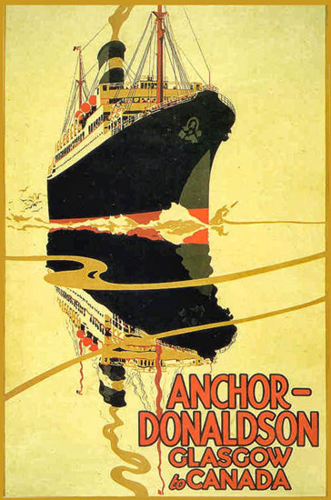 Anchor-Donaldson Glasgow To Canada 1924 | Vintage Travel Posters 1891-1970