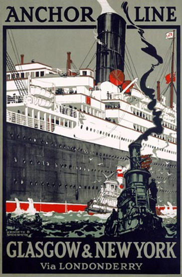 Anchor Line Glasgow And New York Shoesmith | Vintage Travel Posters 1891-1970