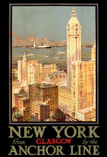 Anchor Line New York From Glasgow | Vintage Travel Posters 1891-1970