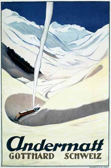 Andermatt Gotthard Schweiz Switzerland 1927 | Vintage Travel Posters 1891-1970