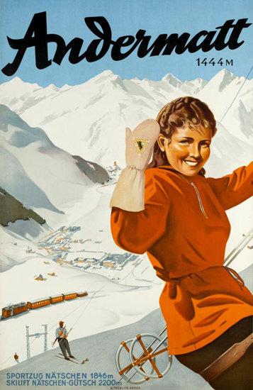 Andermatt Naetschen Guetsch Skiing 1937 | Vintage Travel Posters 1891-1970