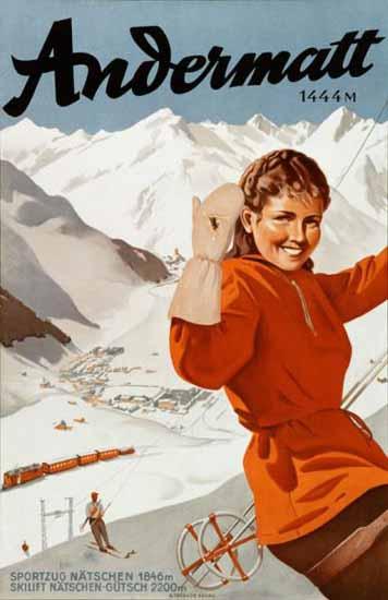 Andermatt Ski Lift 1444m Switzerland 1950 | Vintage Travel Posters 1891-1970