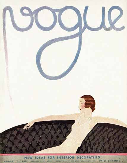 Andre E Marty Vogue Cover 1930-08-02 Copyright   Vogue Magazine Graphic Art Covers 1902-1958