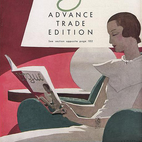 Andre E Marty Vogue Cover 1932-09-01 Copyright crop | Best of 1930s Ad and Cover Art