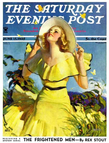 Andrew Loomis Saturday Evening Post Woman in Yellow 1935_06_15 | The Saturday Evening Post Graphic Art Covers 1931-1969