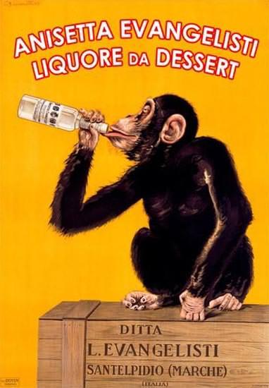 Anisetta Evangelisti Liquore Santelpidio Chimp | Vintage Ad and Cover Art 1891-1970