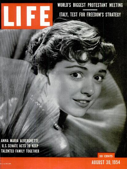 Anna Maria Alberghetti US Senate 30 Aug 1954 Copyright Life Magazine   Life Magazine BW Photo Covers 1936-1970