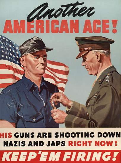 Another American Shooting Down Nazis N Japs | Vintage War Propaganda Posters 1891-1970