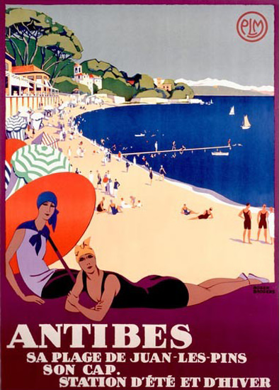 Antibes Plage Juan Les Pins Roger Broders | Sex Appeal Vintage Ads and Covers 1891-1970