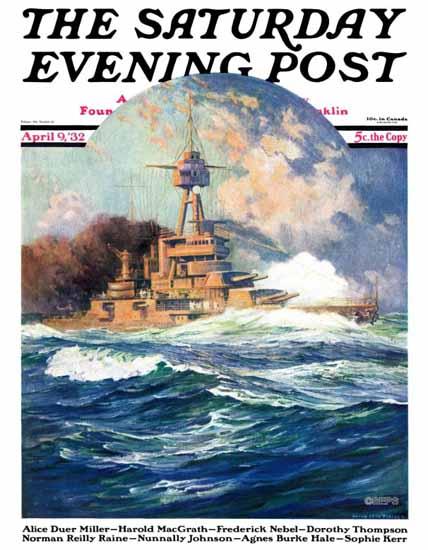 Anton Otto Fischer Saturday Evening Post Battleship at Sea 1932_04_09 | The Saturday Evening Post Graphic Art Covers 1931-1969