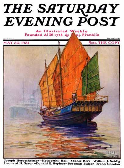 Anton Otto Fischer Saturday Evening Post Chinese Junk 1931_05_30 | The Saturday Evening Post Graphic Art Covers 1931-1969