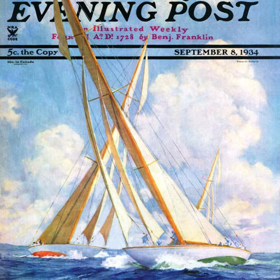 Anton Otto Fischer Saturday Evening Post Sail 1934_09_08 Copyright crop | Best of Vintage Cover Art 1900-1970