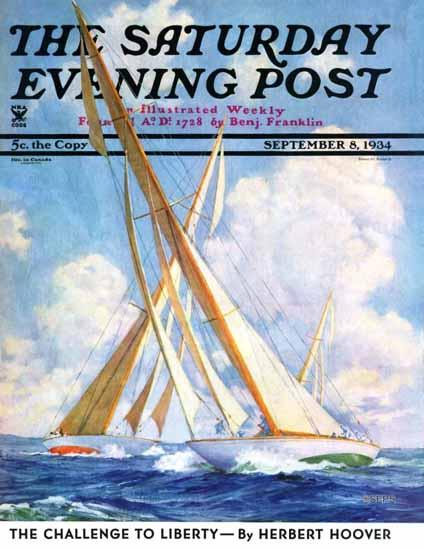 Anton Otto Fischer Saturday Evening Post Sailboat Regatta 1934_09_08 | The Saturday Evening Post Graphic Art Covers 1931-1969