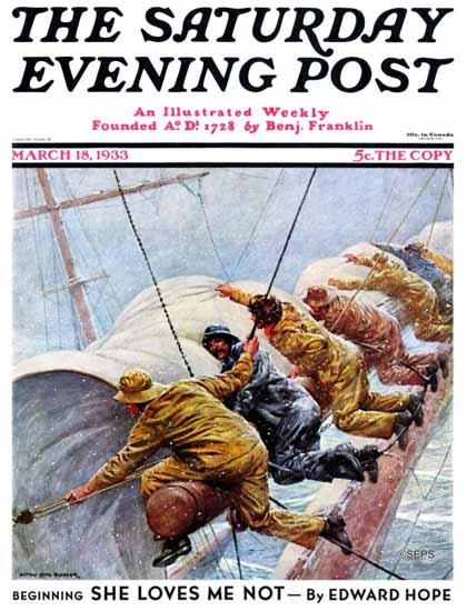Anton Otto Fischer Saturday Evening Post Trim the Sails 1933_03_18   The Saturday Evening Post Graphic Art Covers 1931-1969