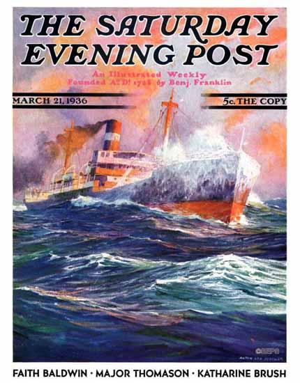 Anton Otto Fischer Saturday Evening Post Wave Breaks 1936_03_21 | The Saturday Evening Post Graphic Art Covers 1931-1969