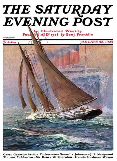 Anton Otto Fischer Saturday Evening Post Yacht Steamship 1932_01_23 | The Saturday Evening Post Graphic Art Covers 1931-1969