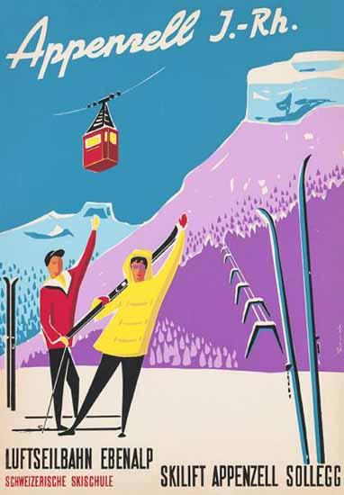 Appenzell Ebenalp Swiss Ski School Switzerland 1950 | Vintage Travel Posters 1891-1970