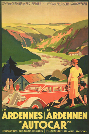 Ardennes By Autocar 1936 | Vintage Travel Posters 1891-1970